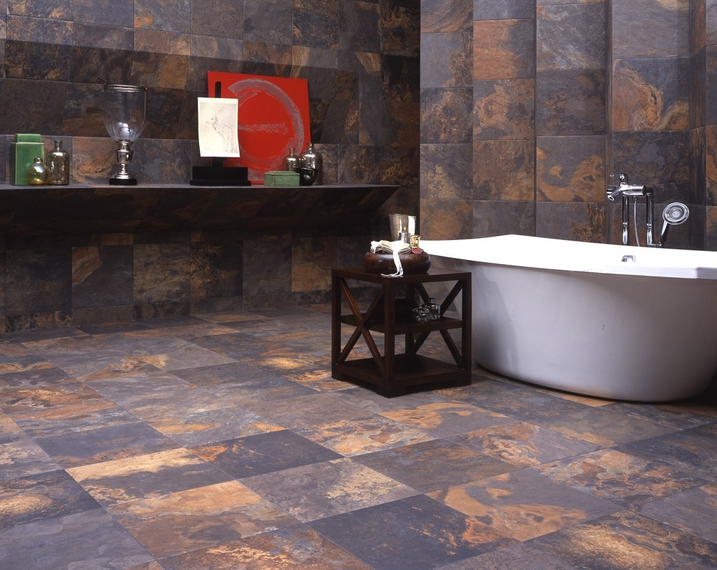 Slate Supremo Multicolor Floor Tile and matching wall decor by interceramic tile plus bathup for bathroom decor ideas