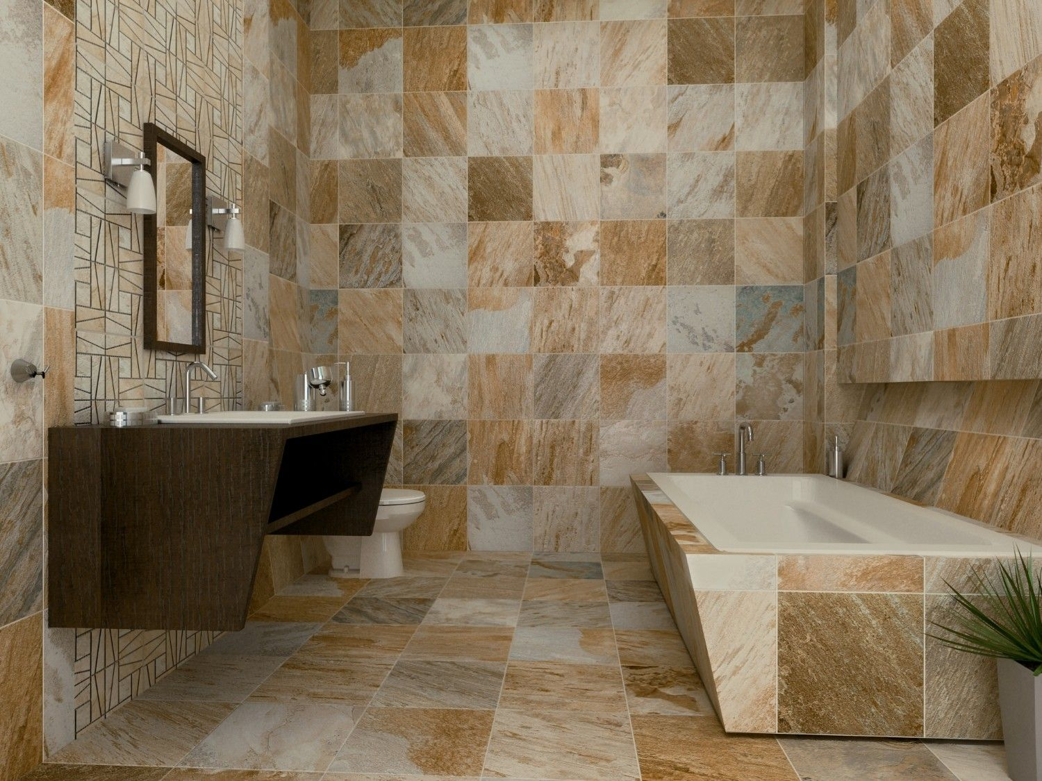 Slate Supremo Winter Floor Tile and wall decor by interceramic tile plus bathup for bathroom decor ideas