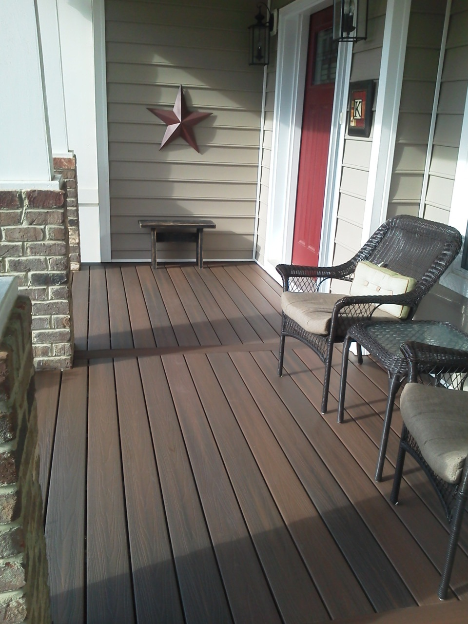 standard trex decking cost with high quality of wood matched with horizontal siding plus chairs and table for patio decor ideas