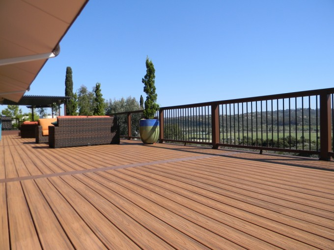 Standard Trex Decking Cost With High Quality Of Wood Material Which Matched With Strong Railing Plus Chic Sofa Set For Patio Decor Ideas