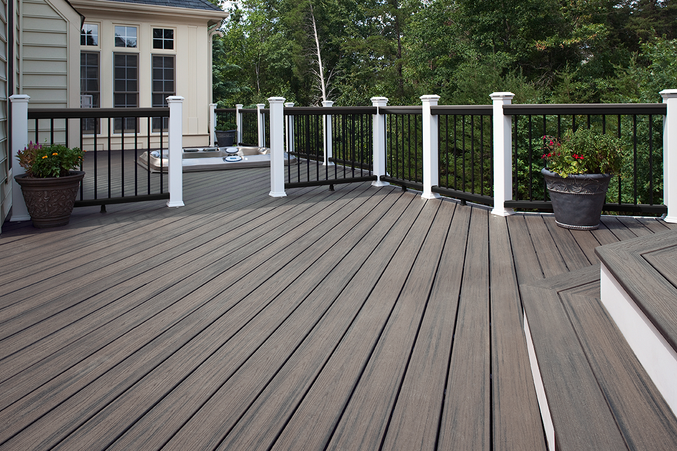 standard trex decking cost with high quality wood material which matched with strong railing in black and white for patio decor ideas