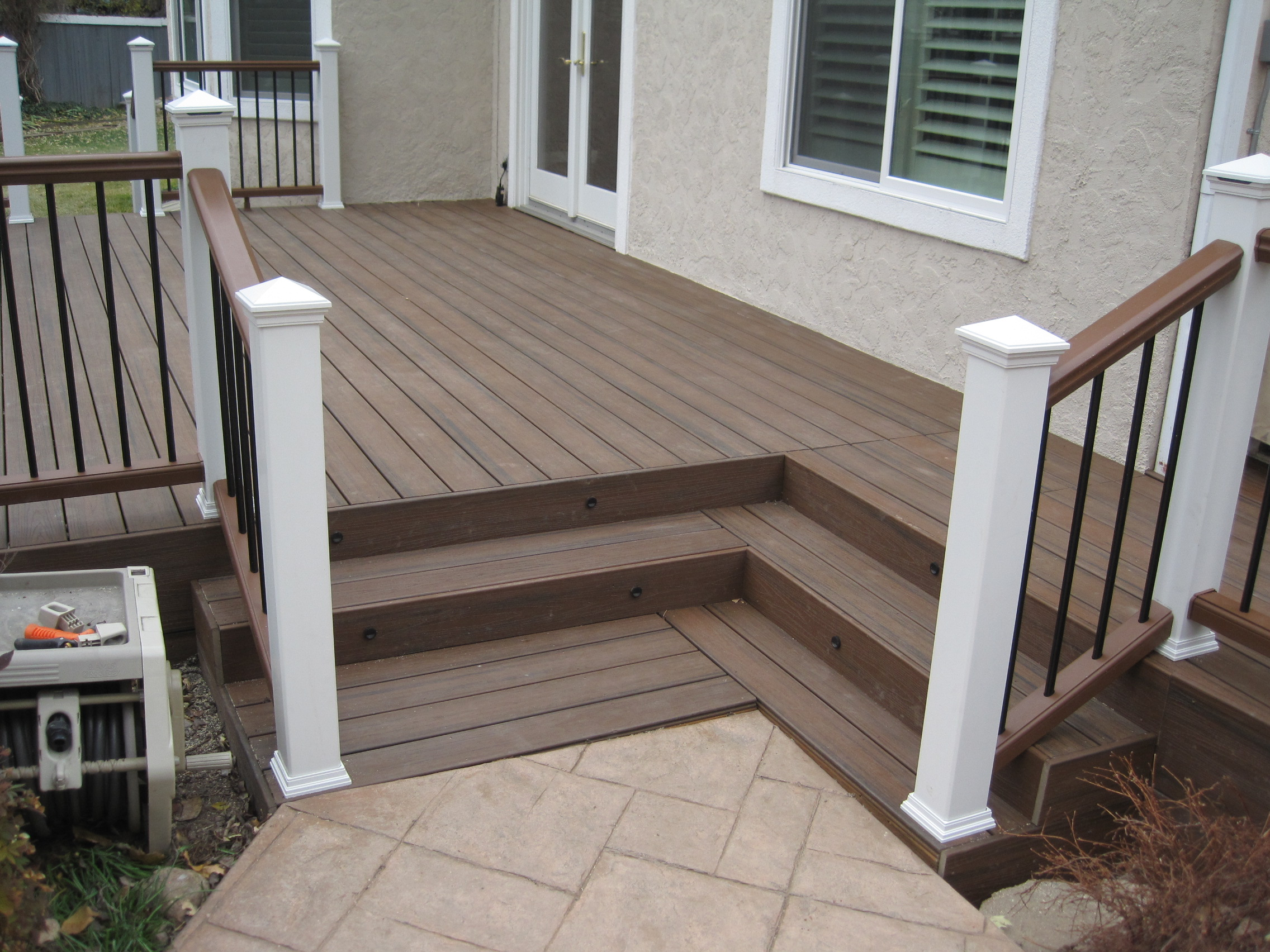 standard trex decking cost with hight quality of wood material matched with cute railing for patio decor ideas