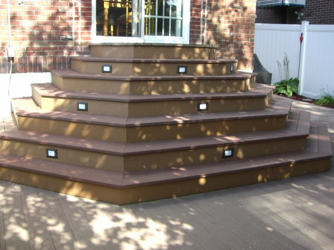 Standard Trex Decking Cost With Standard Quality Of Wood Material Matched With Staircase For Patio Decor Ideas