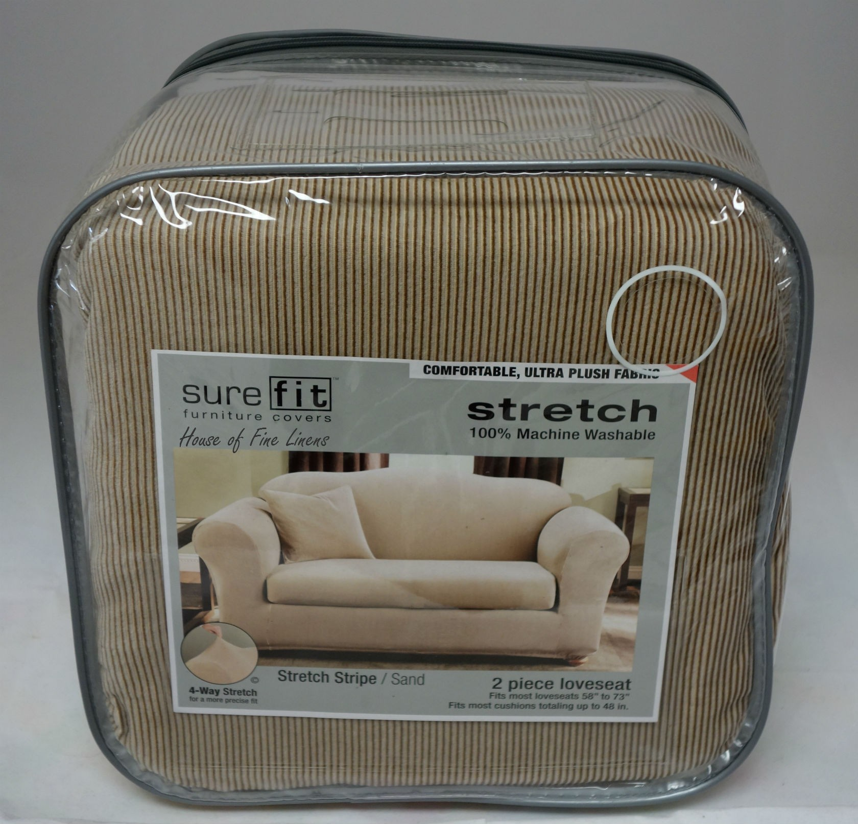 surefitStretch Stripe 2 Piece Loveseat Slipcover Sand for sofa cover ideas