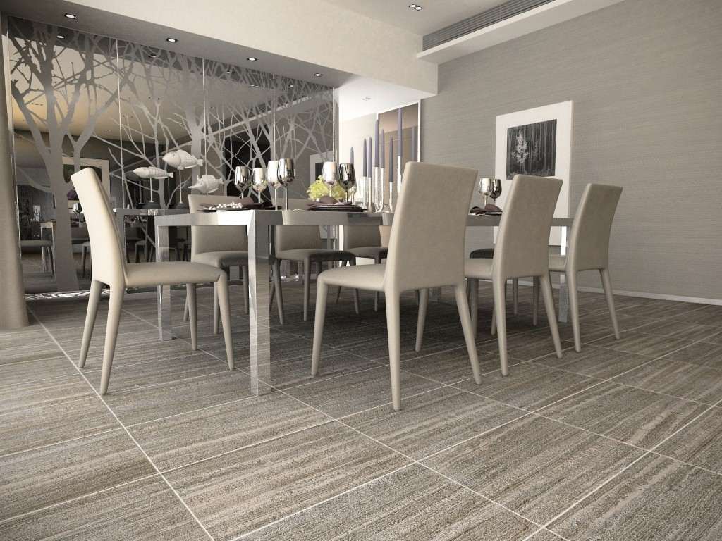 Thassos Travertine Silver Floor Tile by interceramic tile matched with gray wall decor plus dining table set for dining room decor ideas