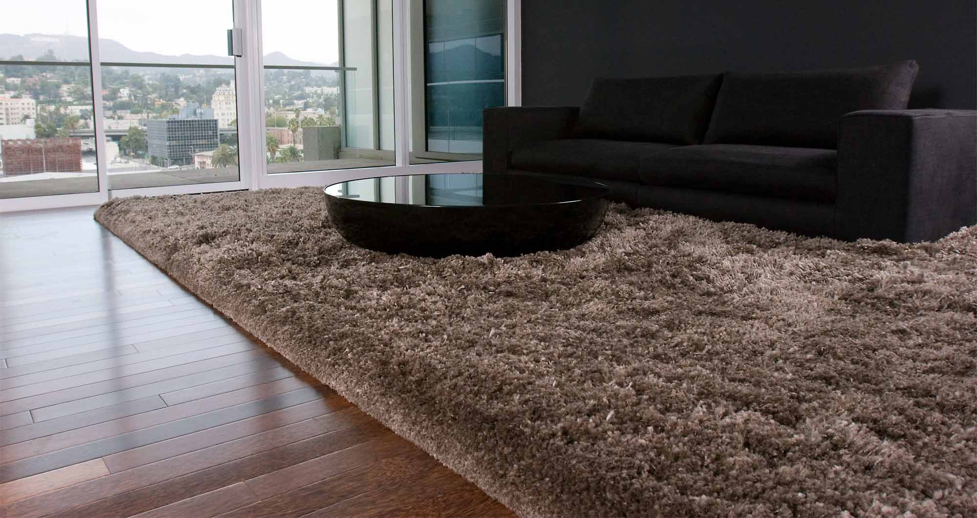 The Flamboyant Momeni Rugs on wooden floor plus black sofa for living room decor ideas