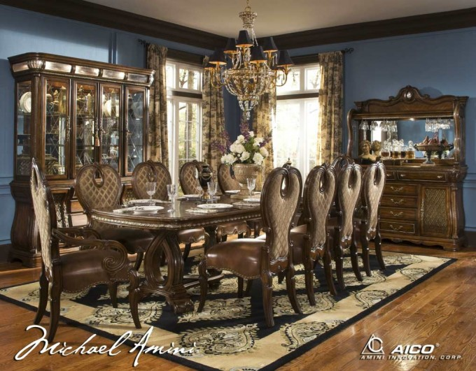 The Sovereign Rectangular Formal Dining Table By Aico Furniture On Wooden Floor With Floral Rug For Awesome Dining Room Decor Ideas