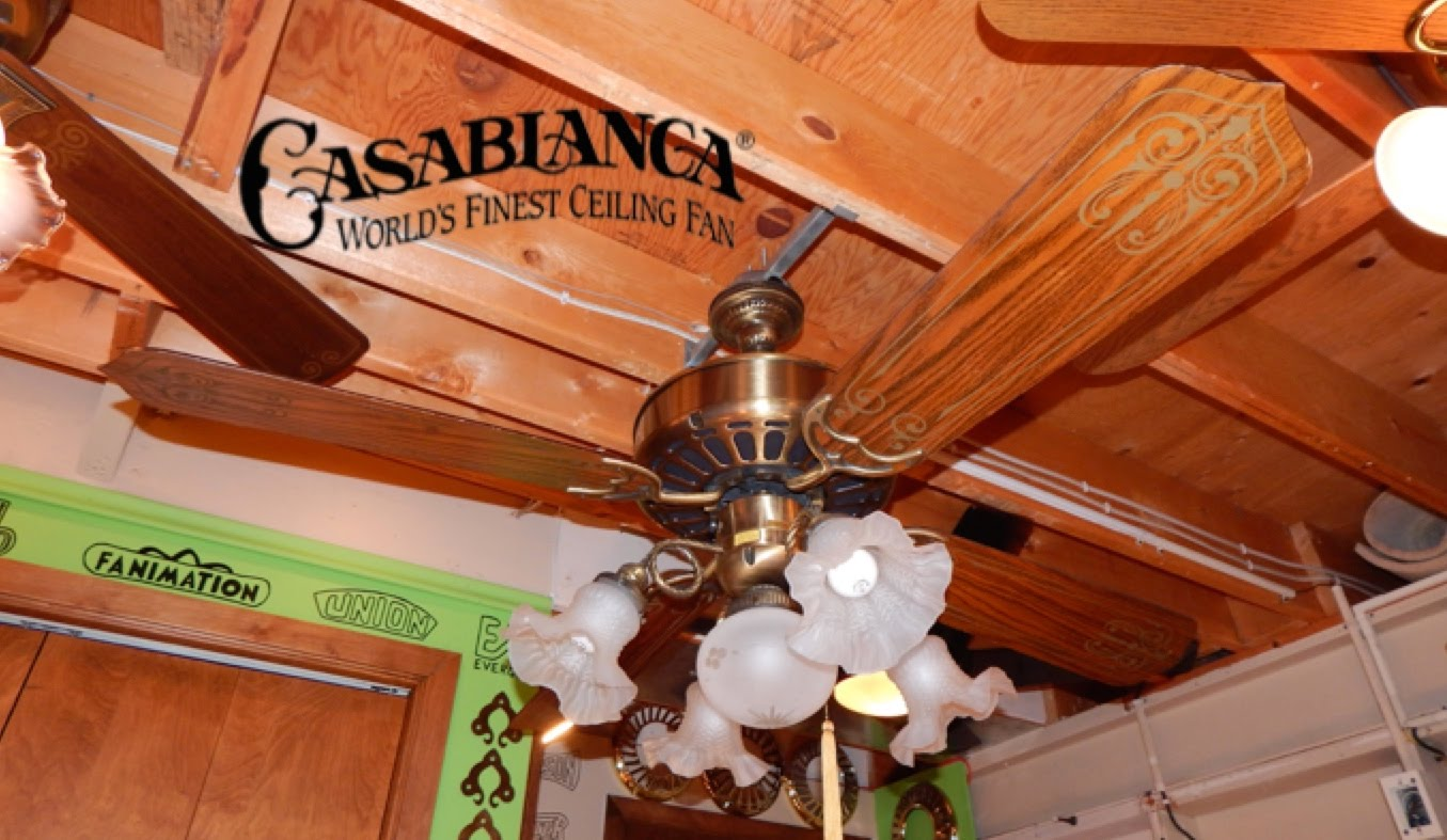 traditional Casablanca Ceiling Fans in four wooden blade slinger with five lights for wonderful ceiling ideas