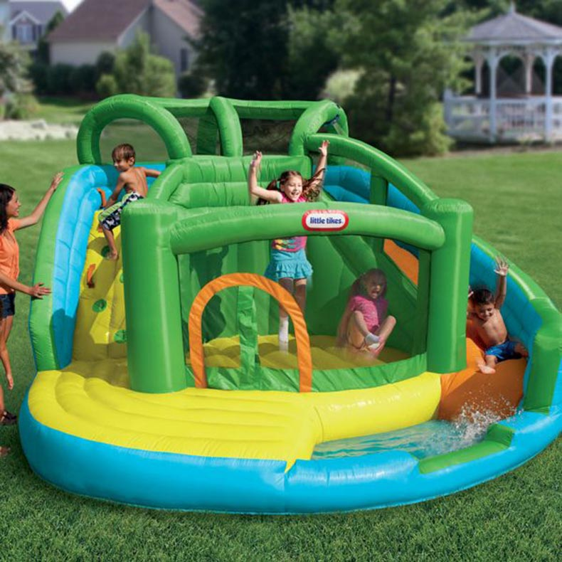 Fancy Little Tikes Bounce House For Play Yard Ideas: Two In One Wet And Dry Little Tikes Bounce House Made Of Caoutchouc For Play Yard Ideas