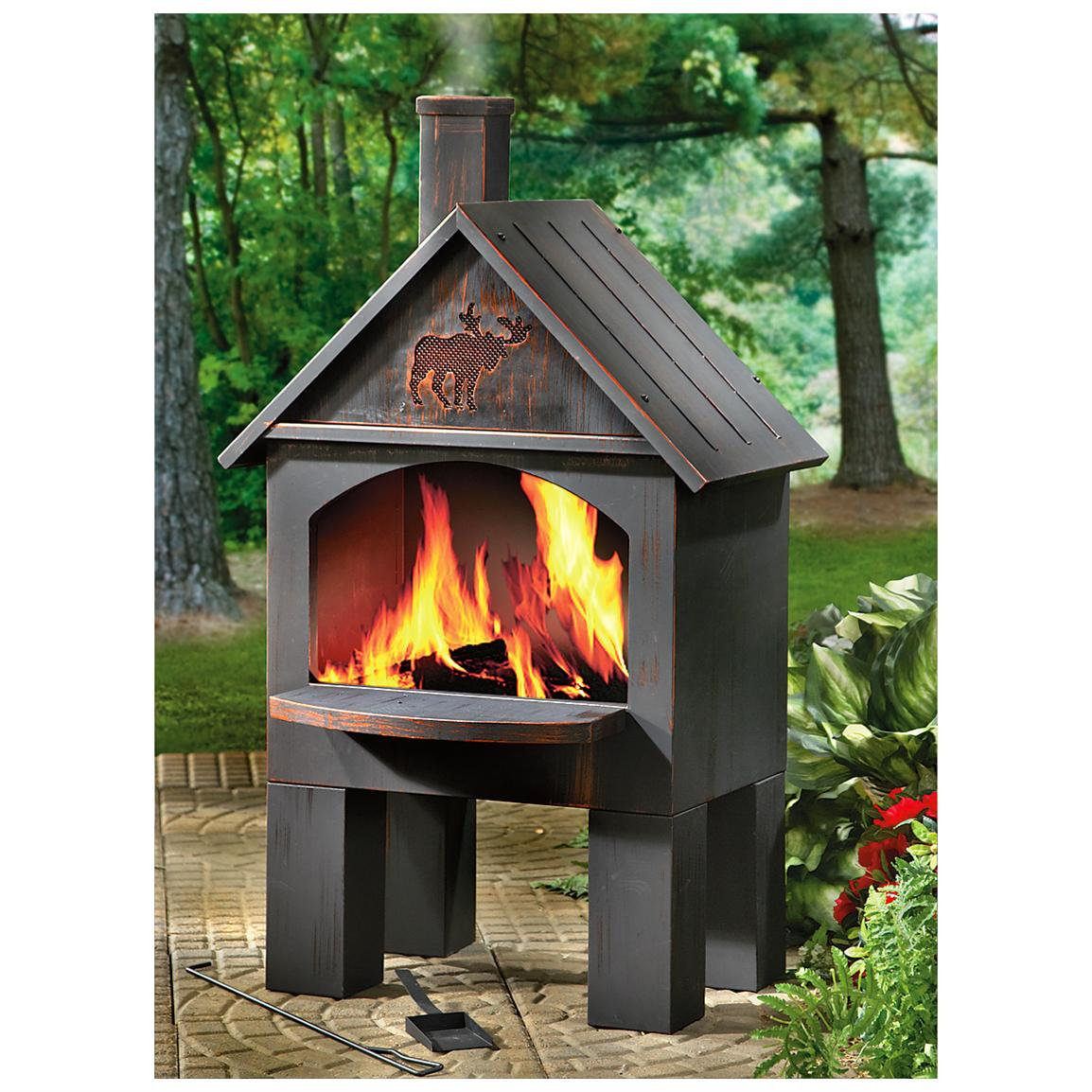 Unique Chiminea Fireplace With Home Design In Black For Outdoor Furniture Ideas