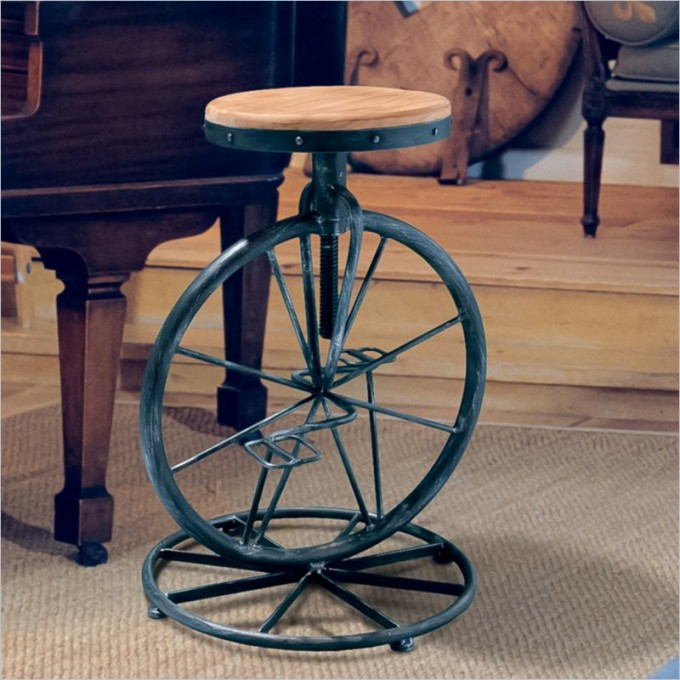 Unique Davide Bicycle Wheel Adjustable Bar Stool In Natural By Cymax Bar Stools For Home Furniture Ideas