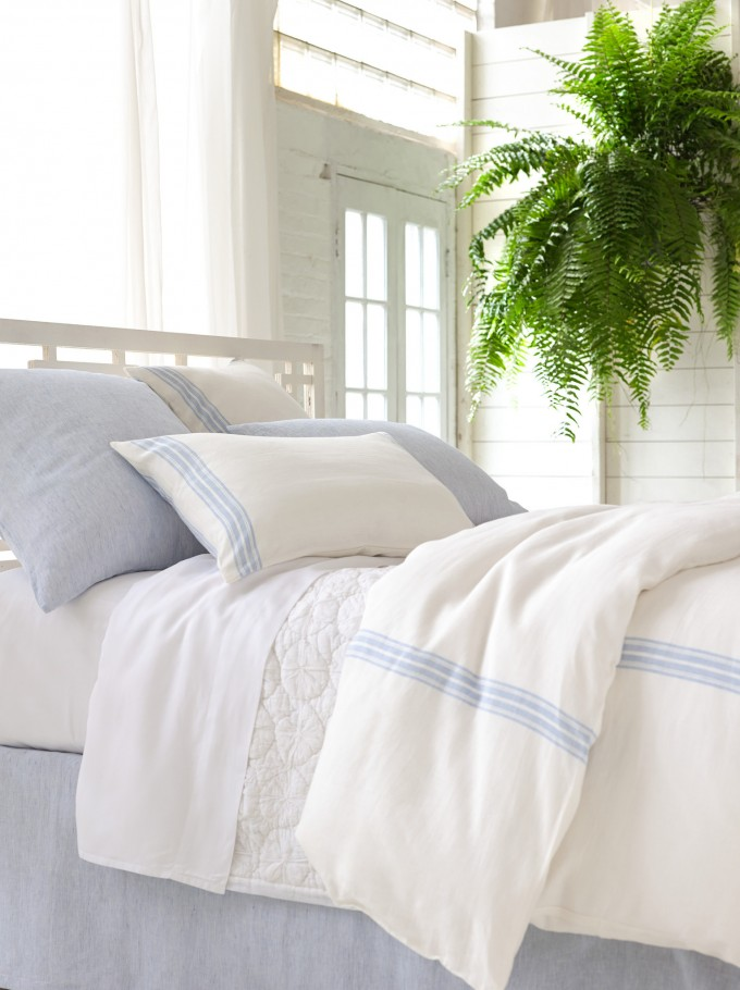 Varana Linen French Blue Bedding Design By Pine Cone Hill For Lovely Bed Ideas