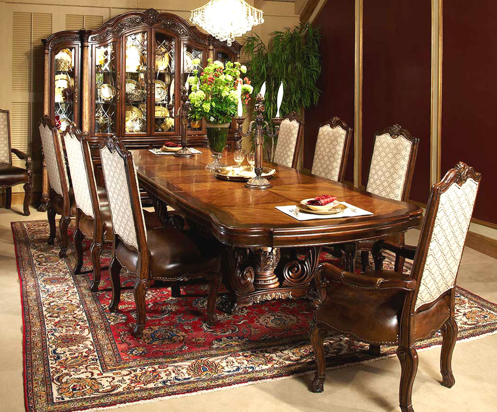 Victoria Palace Dining Room Set by aico furniture on floral rug plus wooden sideboard for dining room decor ideas