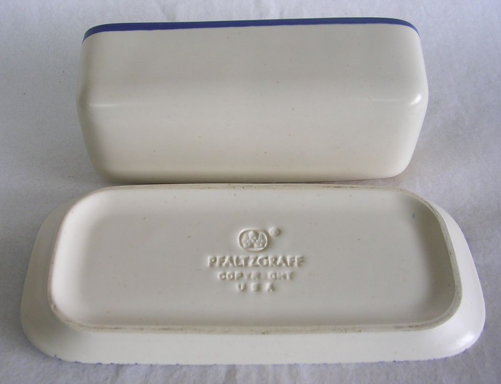 Vintage Pfaltzgraff Blue and White Covered Butter Dish for serveware ideas