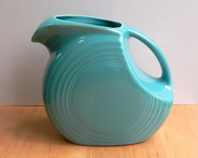 Vintage Turquoise Fiestaware Disc Water Pitcher By VioletQVintage