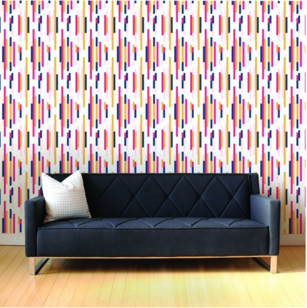 Wonderful And Colorful Tempaper Wallpaper Matched With Cream Wooden Floor Plus Navy Sofa For Interesting Living Room Decor Ideas
