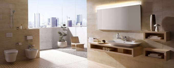 Wonderful Bathroom Decor With White Toto Washlet And Large Mirror Plus Fixtures Ideas