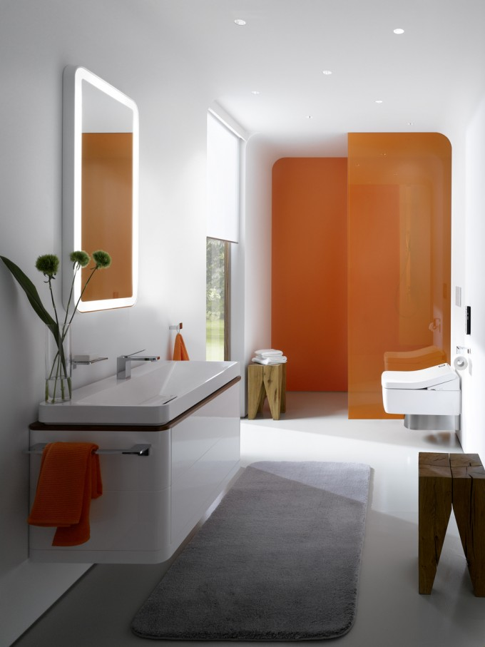 Wonderful Bathroom Decor With White Wall Matched With White Tile Floor Plus Bathroom Cabinet And Toto Washlet Ieas