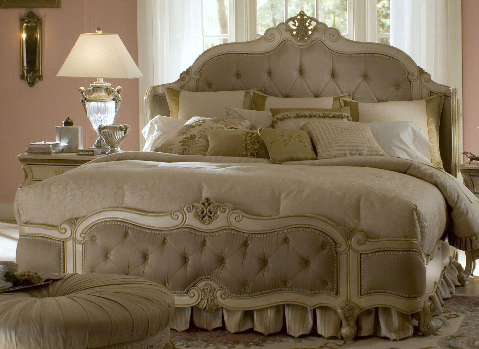 wonderful bed in white with elegant headboard by aico furniture with white bedding for bedroom decor ideas