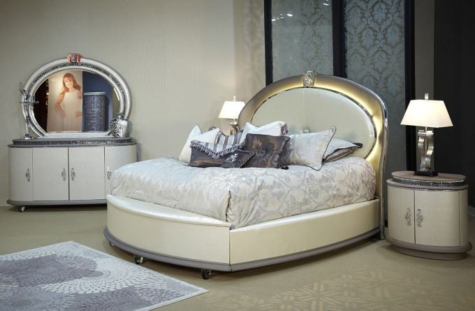 Wonderful Bed With Unique Headboard By Aico Furniture For Bedroom Furniture Ideas