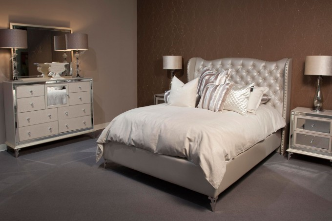 Wonderful Bed With White Tufted Headboard By Aico Furniture With White Bedding On Gray Rug For Bedroom Decor Ideas