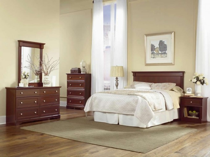 Wonderful Bedroom Decor With Chic Bed And Wooden Dresser By Sauder Furniture On Wooden Floor Ideas