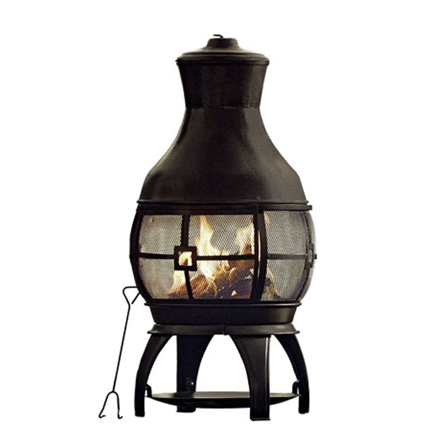 Wonderful Black Chiminea In Unique Design For Outdoor Furniture Ideas