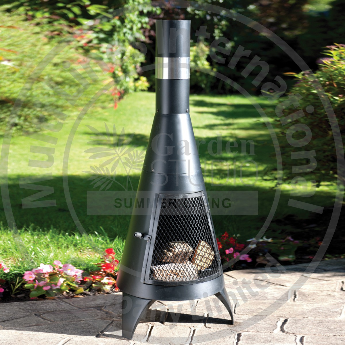 wonderful black iron Chiminea in unique design for patio furniture ideas