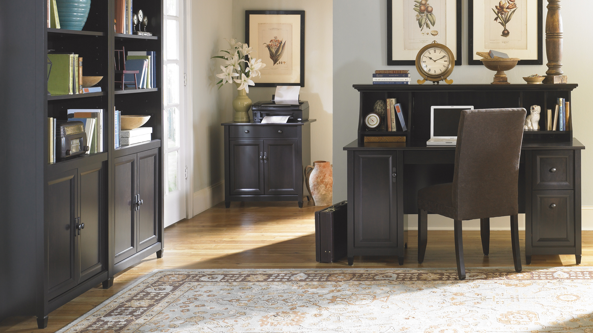 wonderful black wooden desk with hutch by sauder furniture on wooden floor which matched with gray wall for home office decor ideas