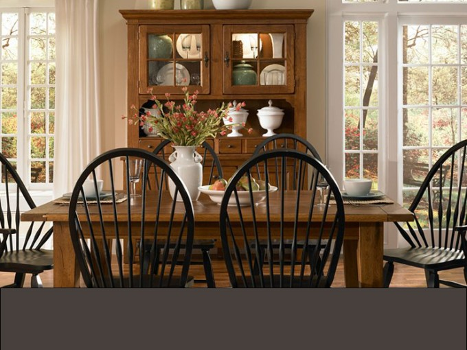 Wonderful Black Wooden Dining Chairs And Brown Wooden Dining Table By Broyhill Furniture On Wooden Floor For Dining Room Decor Ideas