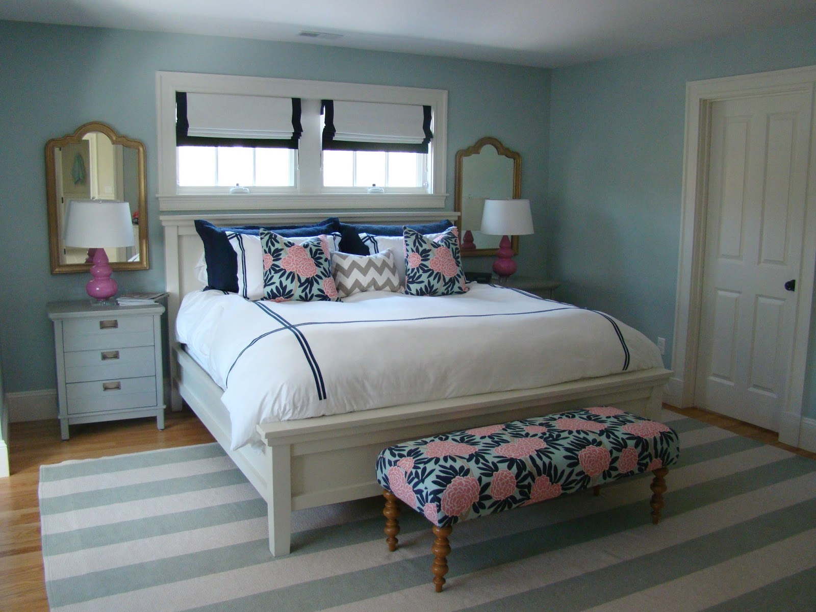 wonderful blue white stripped Dash And Albert Rugs on wooden floor which matched blue wall plus white bed for bedroom decor ideas