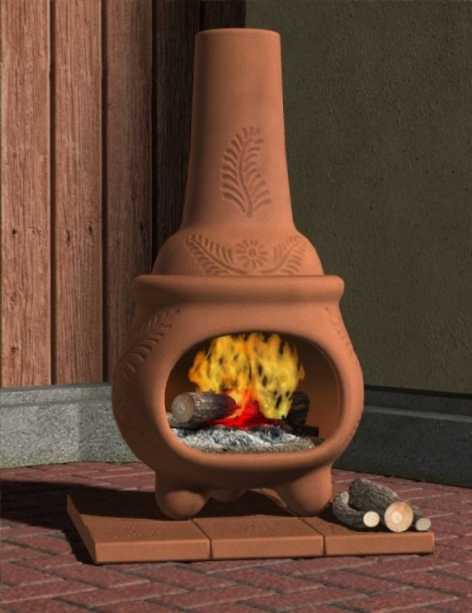 Wonderful Brown Clay Chiminea Outdoor Fireplace For Patio Furniture Ideas