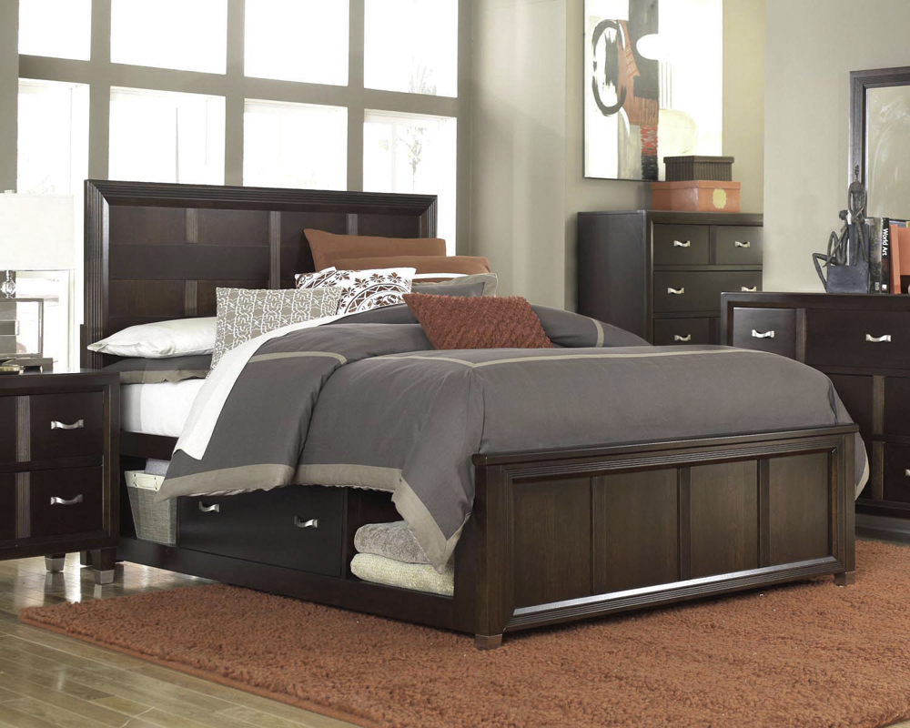 wonderful brown wooden bed by broyhill furniture with gray bedding on wooden floor with red rug for bedroom decor ideas