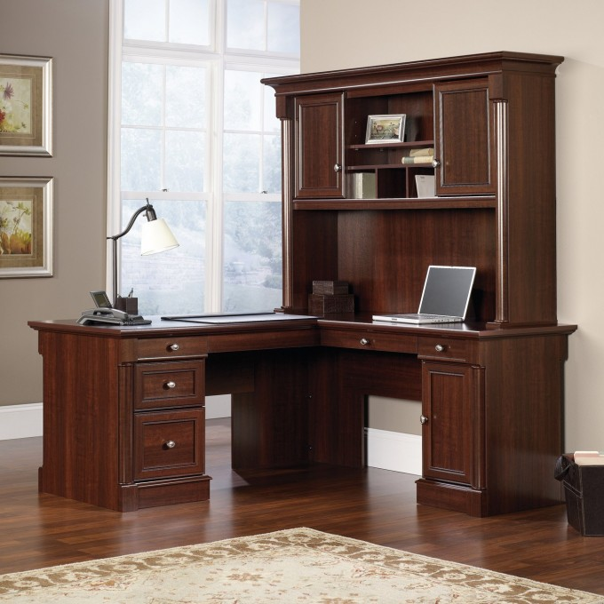 Wonderful Brown Wooden Desk With Hutch And Drawers By Sauder Furniture On Wooden Floor Which Matched With Beige Wall For Home Office Decor Ideas