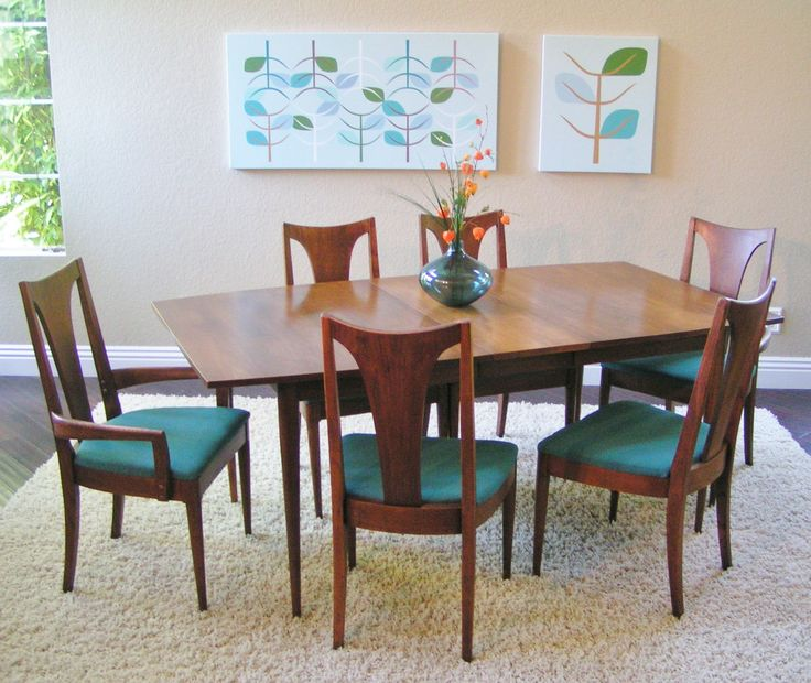 Wonderful Brown Wooden Dining Chairs With Green Seat And Brown Wooden Dining Table By Broyhill Furniture On White Rug For Dining Room Decor Ideas