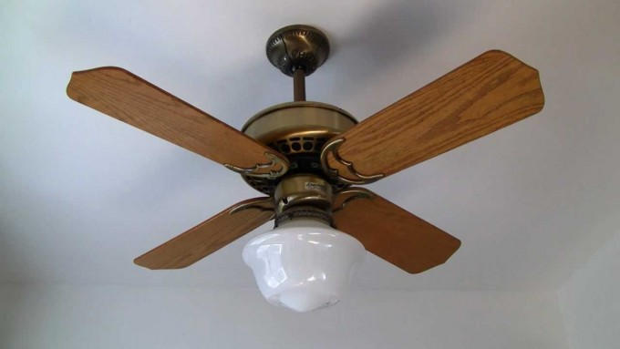 Wonderful Casablanca Ceiling Fans In Four Brown Wooden Blade Slinger With Single Light On White Ceiling For Chic Ceiling Decor Ideas