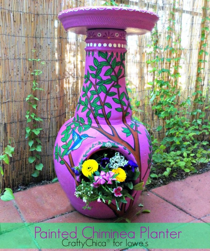 Wonderful Chiminea In Pink With Tree Ornament For Patio Furniture Ideas