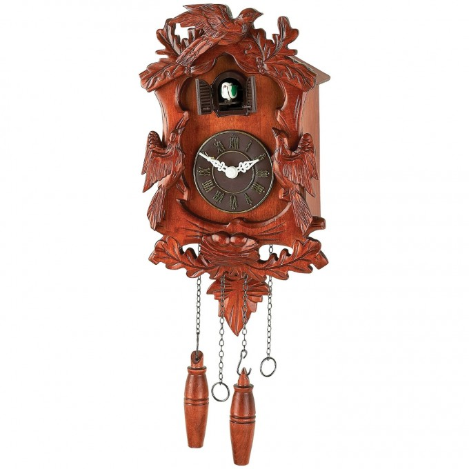 Wonderful Cuckoo Clock In Brown Made Of Wood With Birds Ornament For Home Accessories Ideas