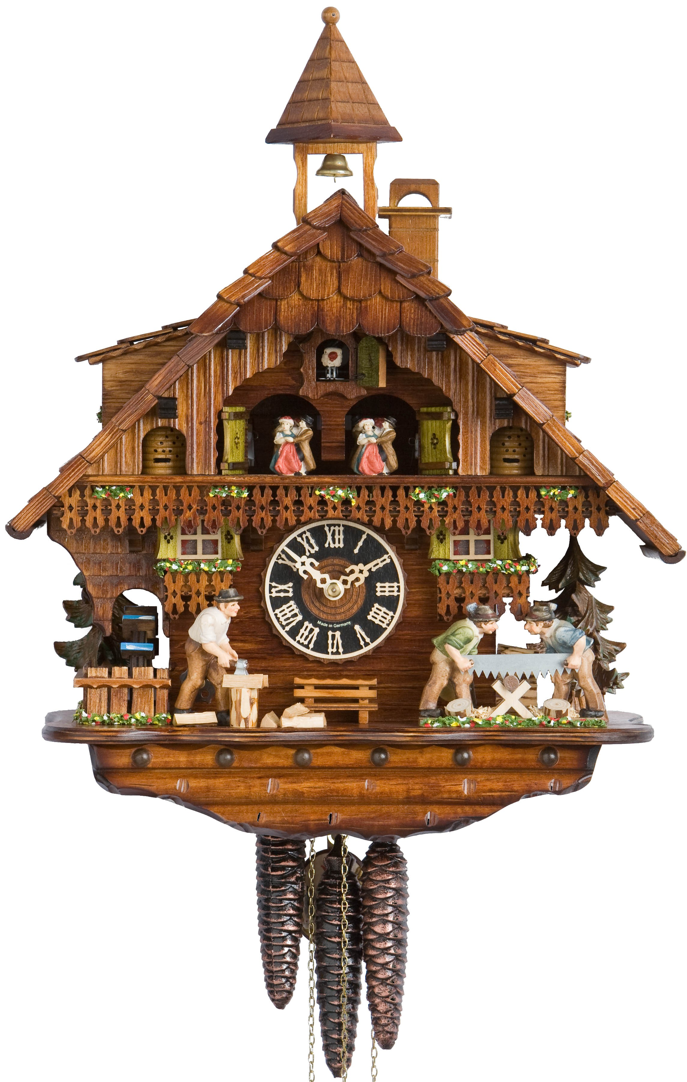 wonderful cuckoo clock in brown made of wood with daily life scene for home furniture ideas