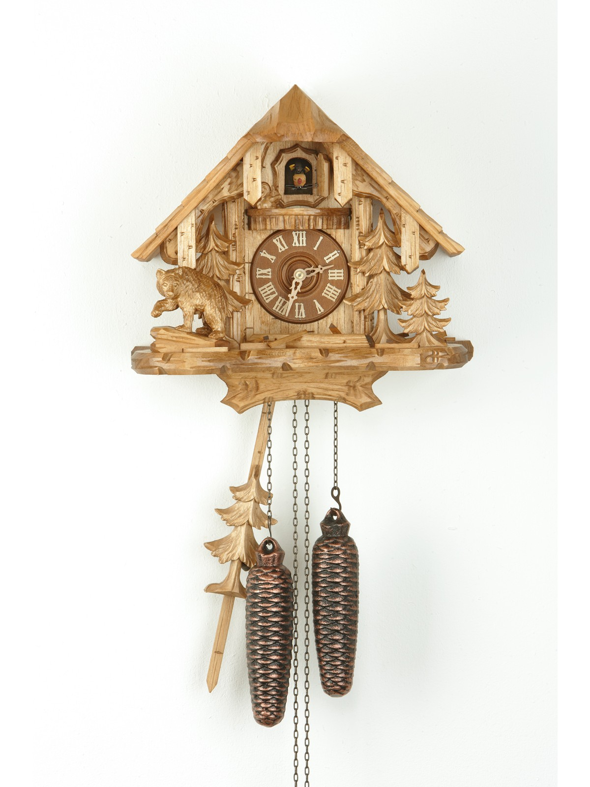 wonderful cuckoo clock in cream made of wood for home furniture ideas