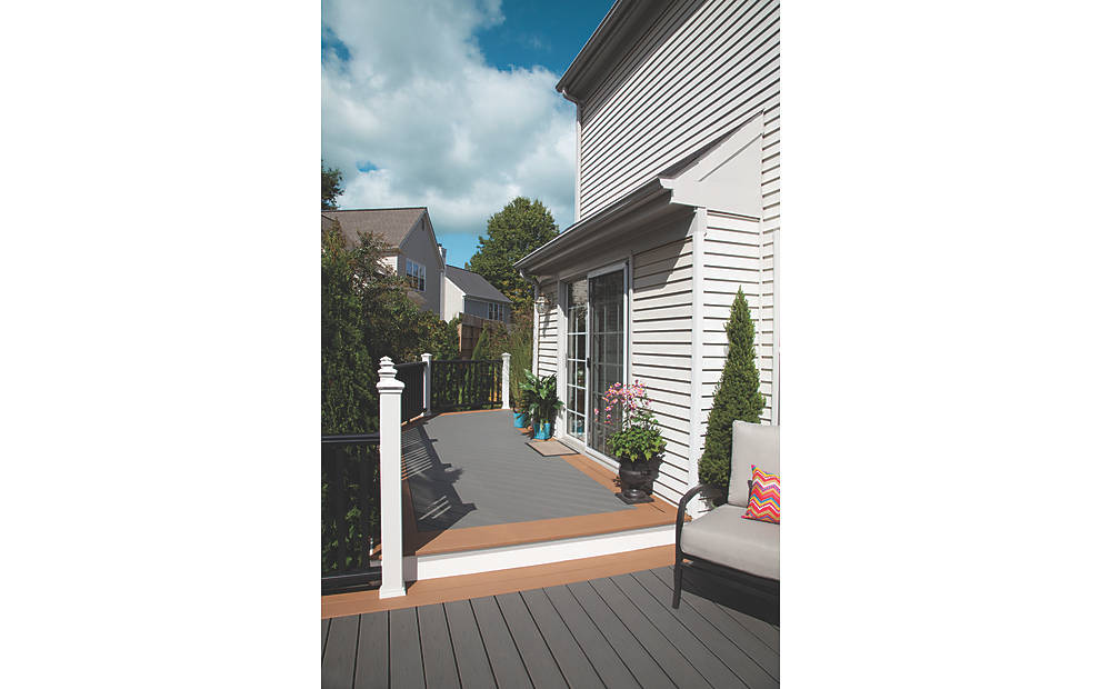 wonderful decking IN CLAM SHELL AND BEACH DUNE matched with white siding for cheap trex decking cost ideas