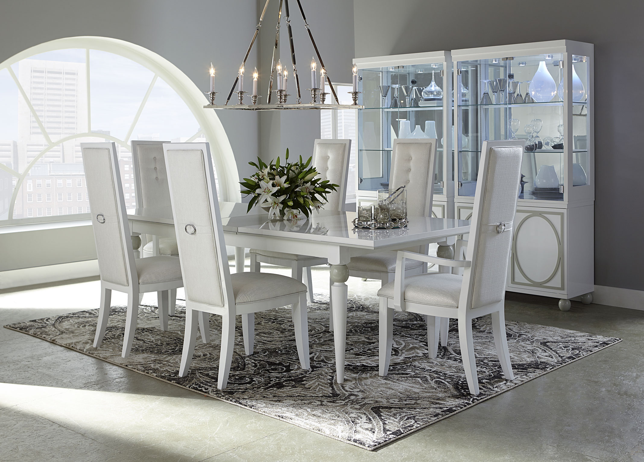 wonderful dining table set in white by aico furniture on floral rug for dining room decor ideas