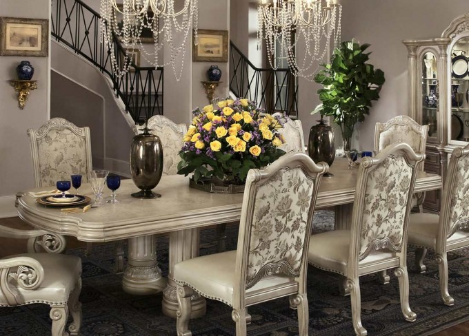 Wonderful Dining Table Set In White With Rectangular Table And Cute Chair With Leather Seat And Back By Aico Furniture For Dining Room Decor Ideas