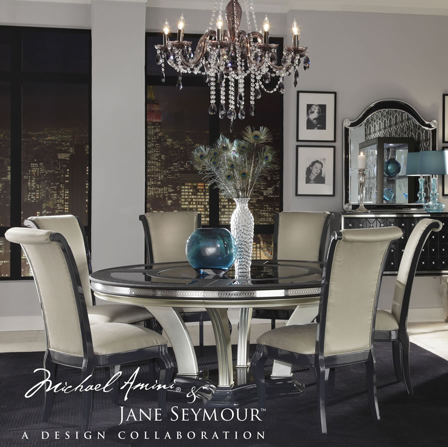 wonderful dining table set with round table and antique white seat and back chair by aico furniture on black rug for dining room decor ideas