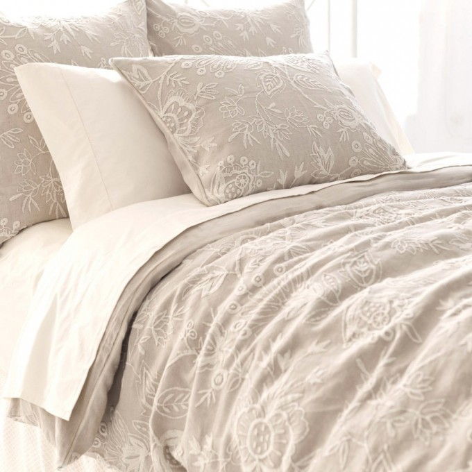 Wonderful Floral Patterned Pine Cone Hill Bedding In Gray And White For Lovely Bed Ideas