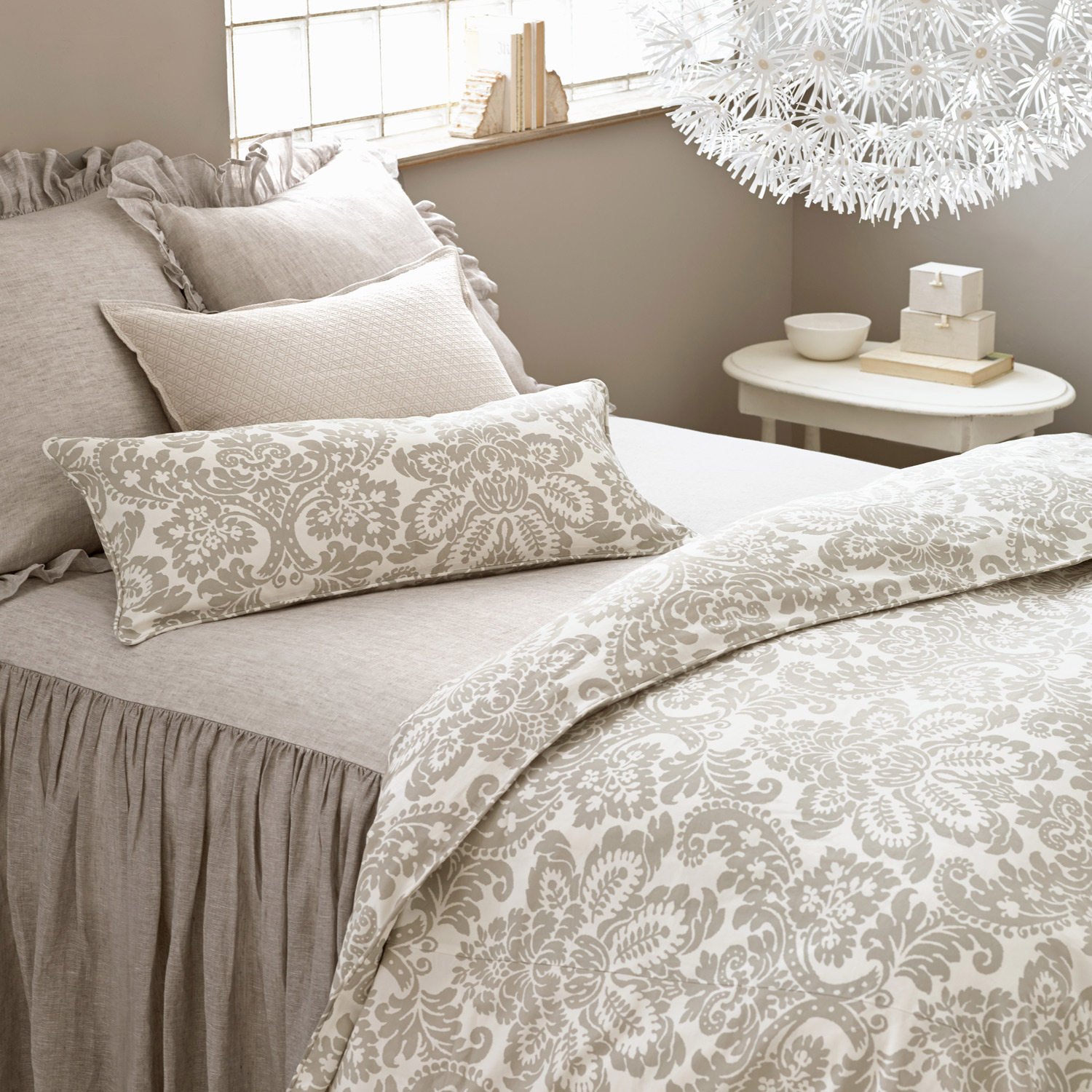 Wonderful Gray Floral Pine Cone Hill Bedding Matched With Gray Wall For Bedroom Decor Ideas