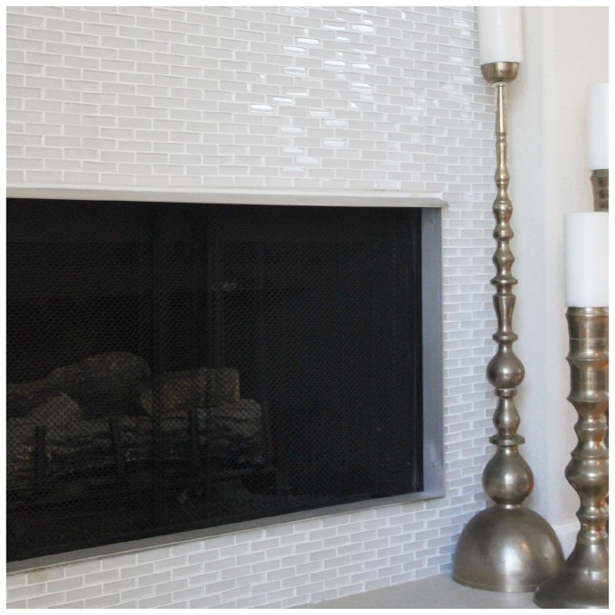 Wonderful Interceramic Tile Wall Decor In White Plus Fireplace For Awesome Interior Design Ideas