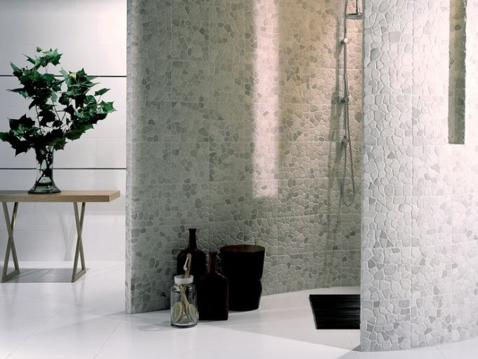 Wonderful Interior Design With White Tile Floor And Wall Decor By Interceramic Tile Ideas
