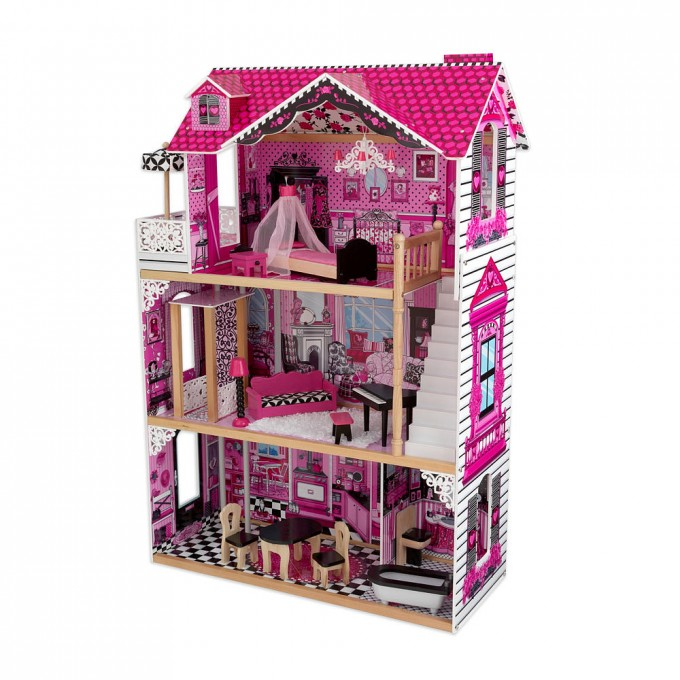 Wonderful Kidkraft Dollhouse In Pink Theme And Tripe Tier Design With White Stair For Chic Nursery Decor Ideas