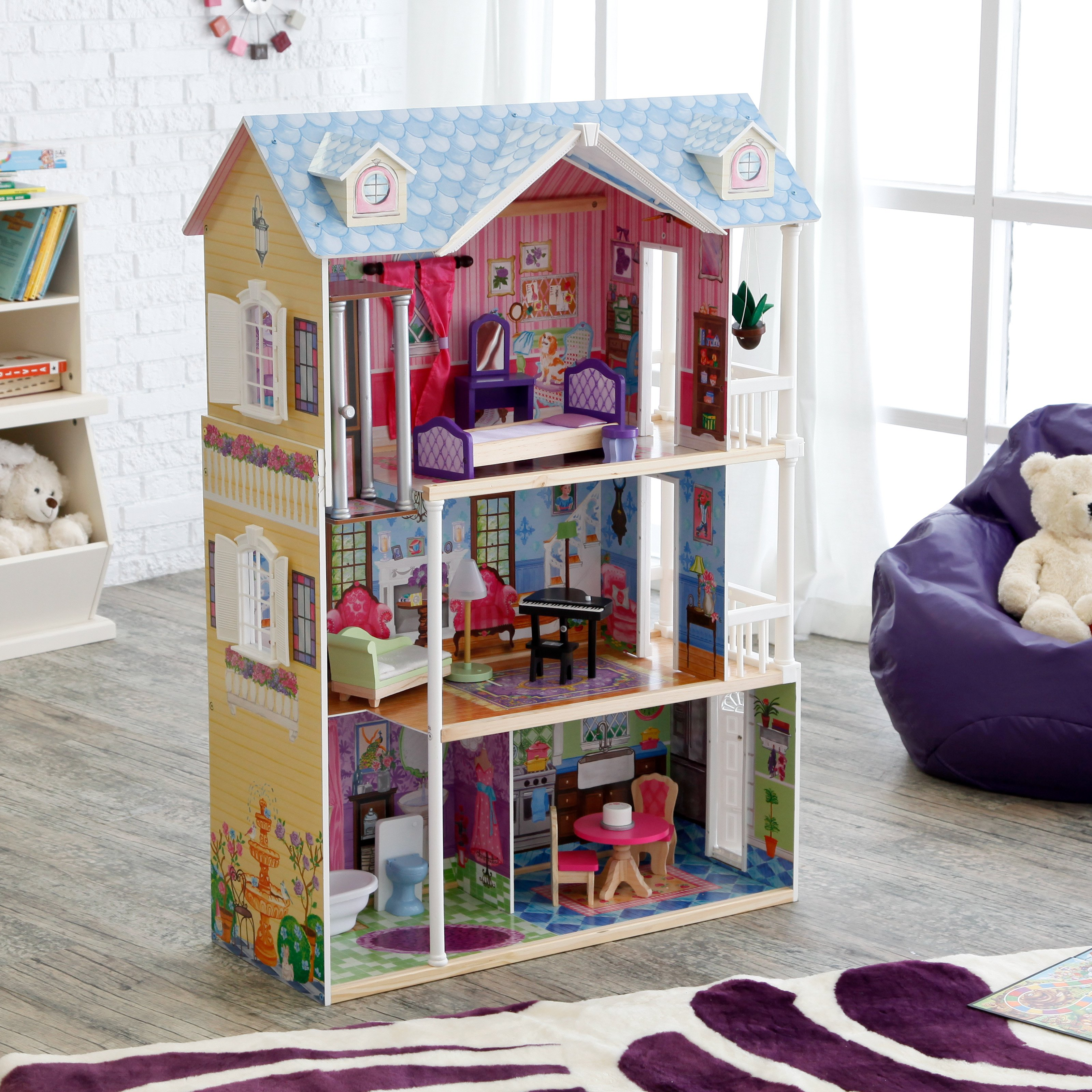 wonderful kidkraft dollhouse made of wood in triple tier design with blue roof on wooden floor which matched with white wall for nursery decor ideas